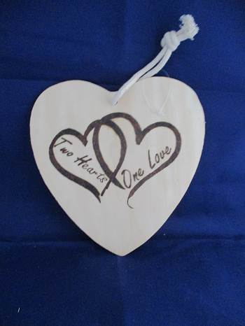 Two Hearts One Love Pyrography