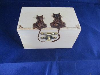 Small Cat Box Pyrography
