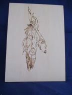 Girl In The Feathers Pyrography